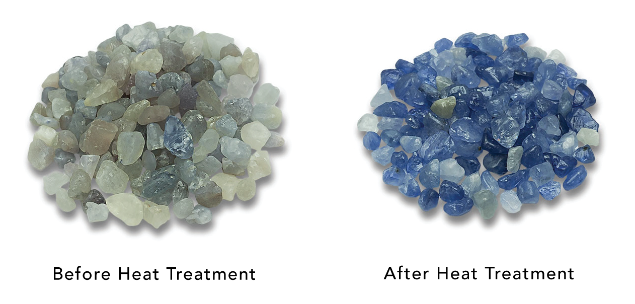 Before and After Gemstone Heat Treatment